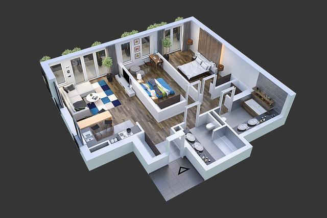 Wizualizacja architektoniczna - widok mieszkania / MRRE.PL /
