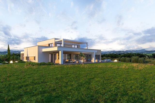 Wizualizacja domu - elewacja ogrodowa