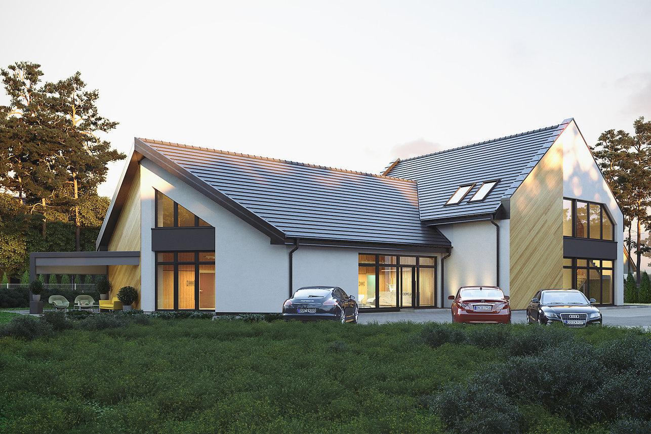 Wizualizacje architektoniczne - Elewacja frontowa