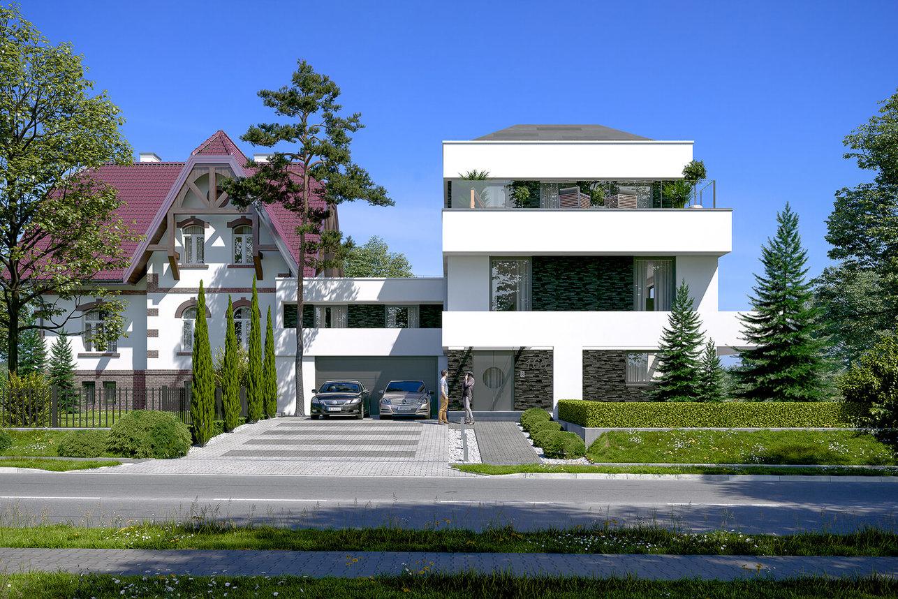 Wizualizacja domu - elewacja frontowa