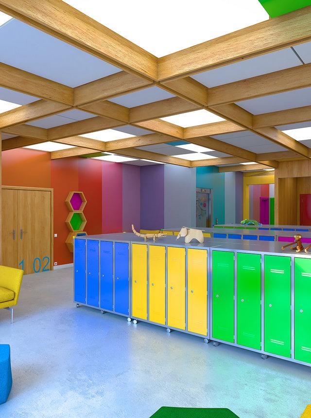 Wizualizacja wnętrza budynku przedszkola / Archi-Size /